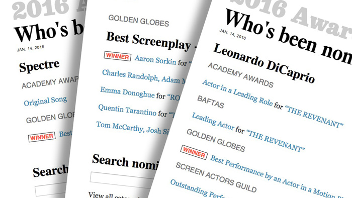 Searchable 2016 awards database