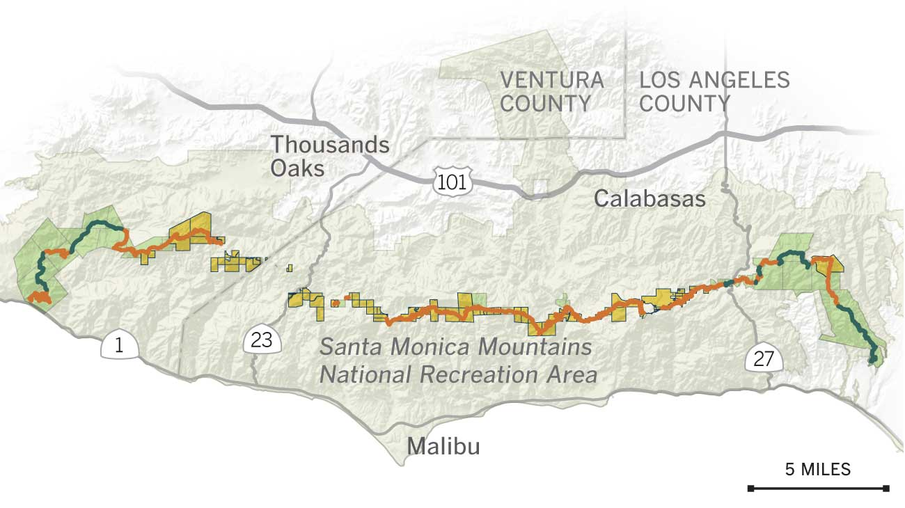 The Backbone Trail through the years - Los Angeles Times on los angeles hiking map, eaton canyon hiking map, mount lee hiking map, griffith observatory hiking map, ross lake hiking map, lake mead hiking map, northern california hiking map, joshua tree national park hiking map, delaware water gap hiking map, chino hills hiking map, point mugu hiking map, arizona hiking map, will rogers state park hiking map, figueroa mountain hiking map, lake tahoe hiking map, malibu hiking map, mt. tam hiking map, channel islands hiking map, sun valley hiking map, elysian park hiking map,