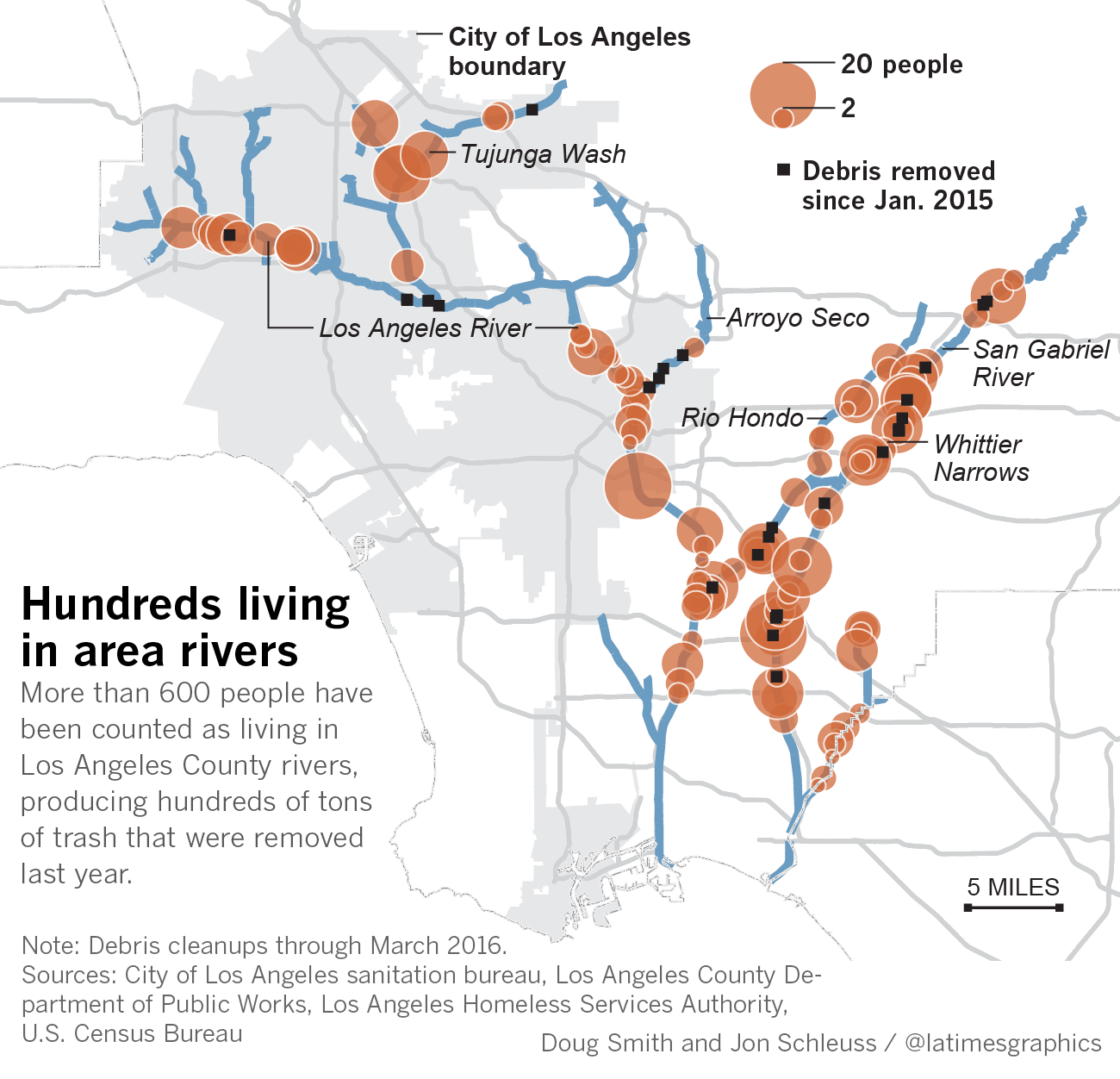 Map of Los Angeles County homeless counts and cleanup areas