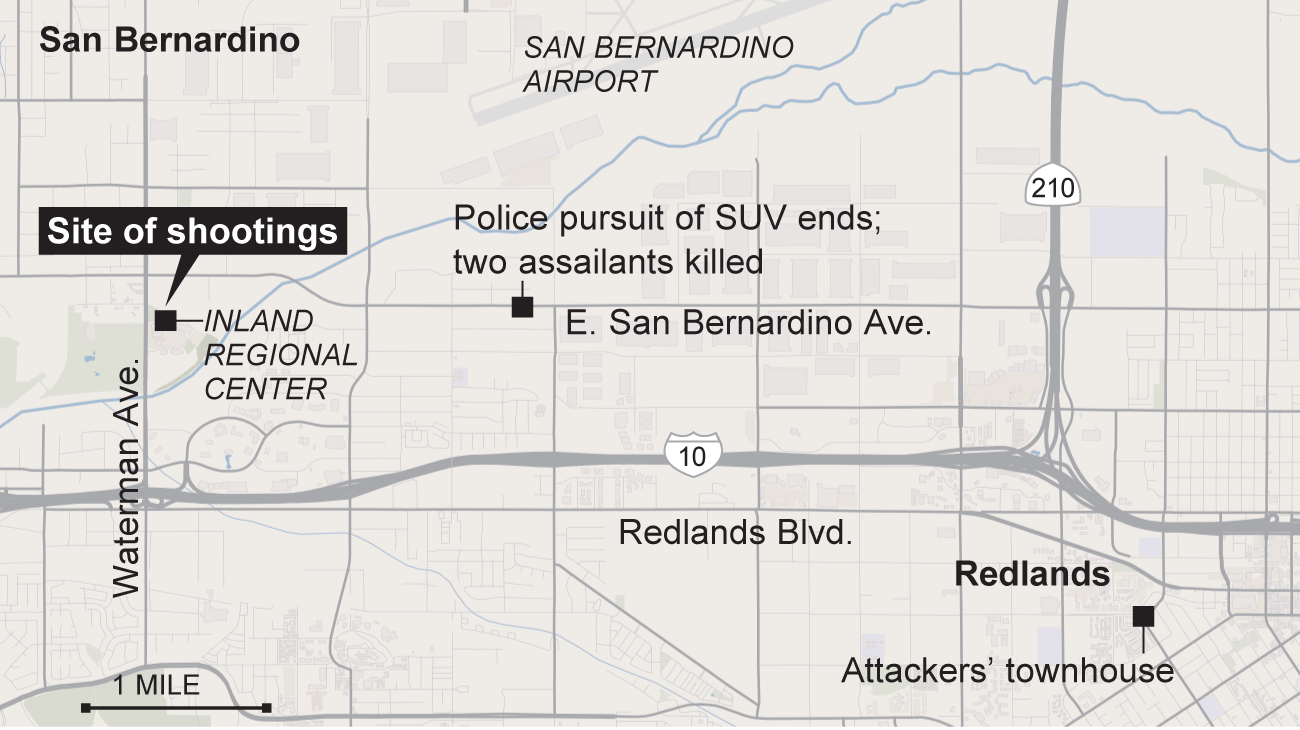 Shooting in San Bernardino: What happened where - Los ... on hodge road shooting map, imperial blm map, california gold rush map, shooting apple valley map, holcomb valley gold rush map, california shooting map, riverside blm land map, clark county shooting map, san bernardio county map, chattanooga shooting map, palm springs shooting map, baltimore shooting map,